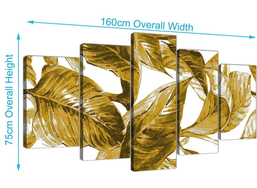 Panoramic Extra Large Mustard Yellow White Tropical Leaves Canvas Split 5 Piece 5318 For Your Living Room