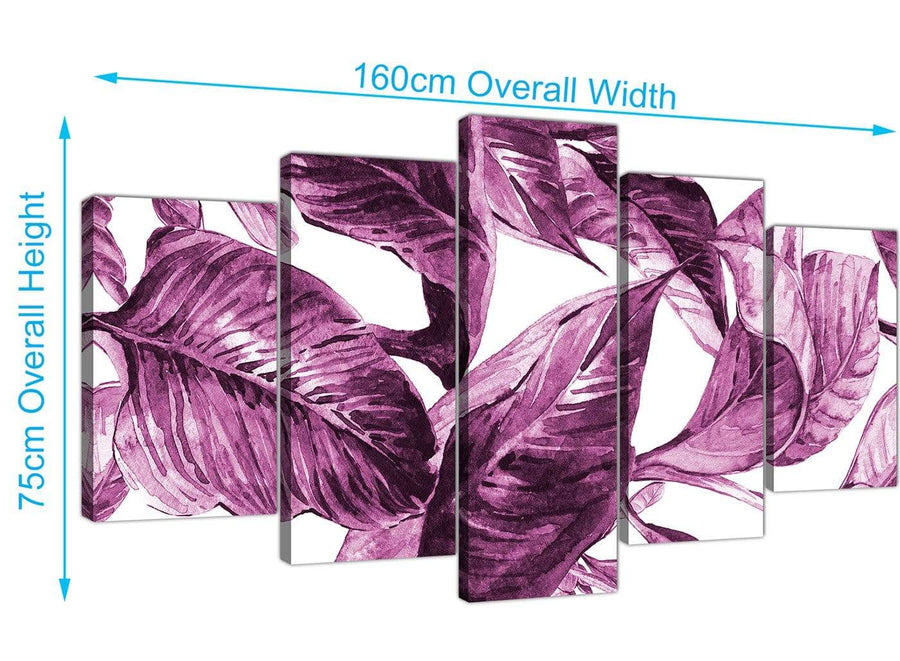 Panoramic Extra Large Plum Aubergine White Tropical Leaves Canvas Multi 5 Set 5319 For Your Living Room