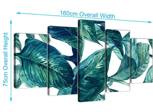 Panoramic Extra Large Teal Blue Green Tropical Exotic Leaves Canvas Multi 5 Piece 5325 For Your Living Room
