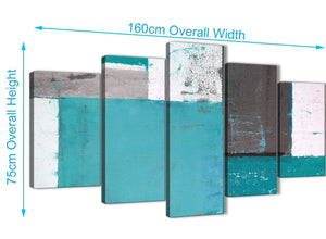 Panoramic Extra Large Teal Grey Abstract Painting Canvas Wall Art Split 5 Panel 160cm Wide 5344 For Your Bedroom