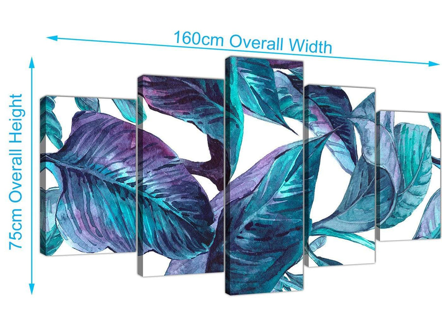 Panoramic Extra Large Turquoise And White Tropical Leaves Canvas Split Set Of 5 5323 For Your Dining Room