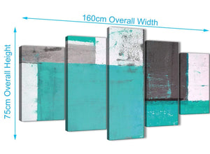 Panoramic Extra Large Turquoise Grey Abstract Painting Canvas Wall Art Multi 5 Set 160cm Wide 5345 For Your Bedroom