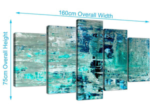 Panoramic Extra Large Turquoise Teal Abstract Painting Wall Art Print Canvas Split Set Of 5 5333 For Your Living Room