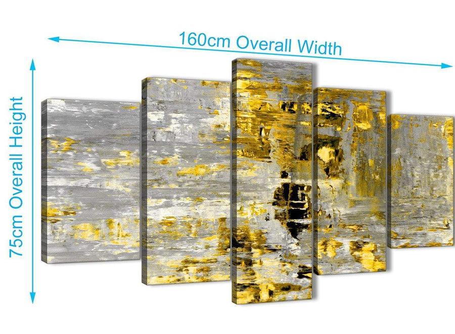 Panoramic Extra Large Yellow Abstract Painting Wall Art Print Canvas Split 5 Panel 160cm Wide 5357 For Your Living Room