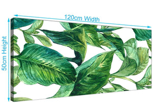 Panoramic Green Palm Tropical Banana Leaves Canvas Modern 120cm Wide 1324 For Your Kitchen