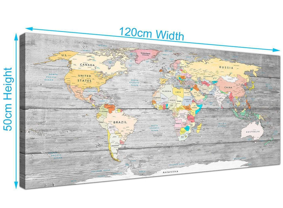 Panoramic Grey Large Map Of World Canvas Art Print Colourful Light Grey Maps Canvas Modern 120cm Wide 1306 For Your Office