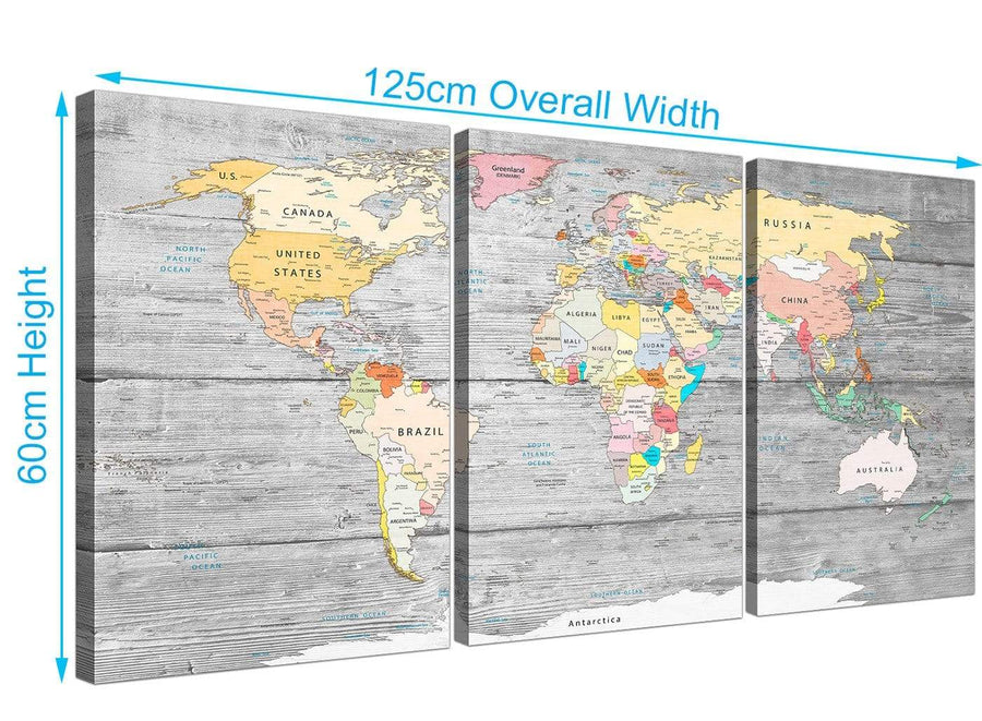 Panoramic Grey Large Map Of World Canvas Art Print Colourful Light Grey Maps Canvas Multi 3 Panel 3306 For Your Study