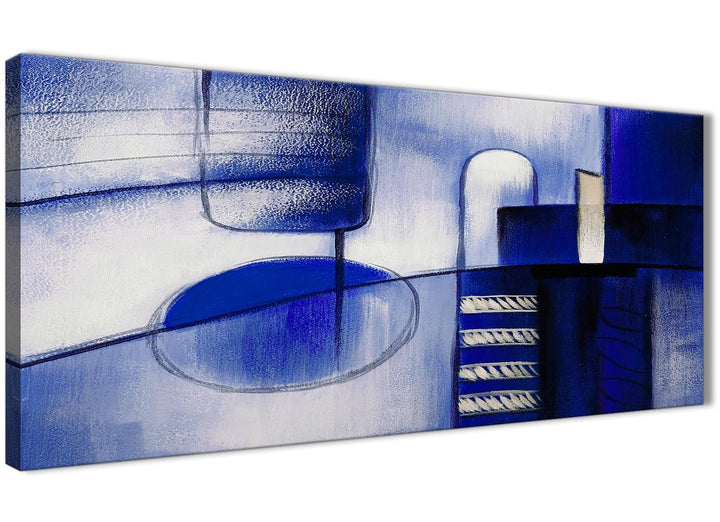 Panoramic Indigo Blue Cream Painting Bedroom Canvas Wall Art Accessories - Abstract 1418 - 120cm Print