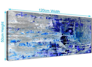 Panoramic Indigo Blue Grey Abstract Painting Wall Art Print Canvas Modern 120cm Wide 1358 For Your Kitchen