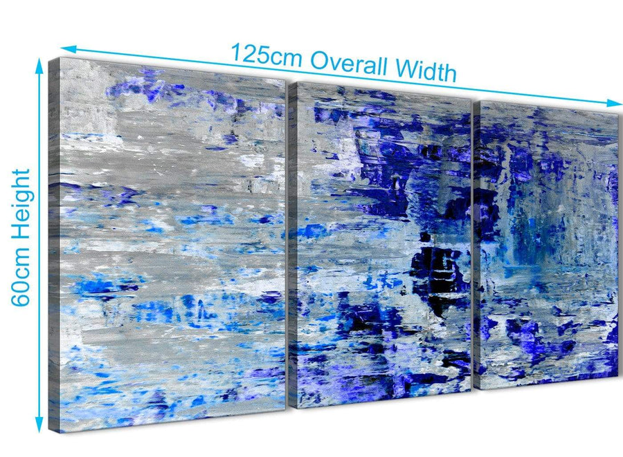 Panoramic Indigo Blue Grey Abstract Painting Wall Art Print Canvas Split Set Of 3 125cm Wide 3358 For Your Dining Room