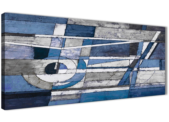 Panoramic Indigo Blue White Painting Bedroom Canvas Wall Art Accessories - Abstract 1404 - 120cm Print