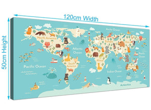 Childrens Animal Atlas Map for Bedroom or Nursery in blue and yellow
