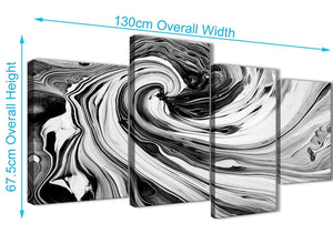 Panoramic Large Black White Grey Swirls Modern Abstract Canvas Wall Art Split 4 Piece 130cm Wide 4354 For Your Dining Room