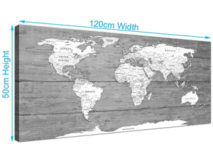 Panoramic Large Black White Map Of World Atlas Canvas Wall Art Print Modern 120cm Wide 1315 For Your Office