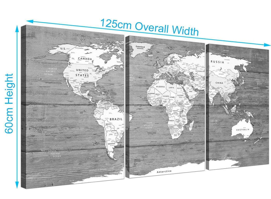 Panoramic Large Black White Map Of World Atlas Canvas Wall Art Print Multi 3 Panel 3315 For Your Office