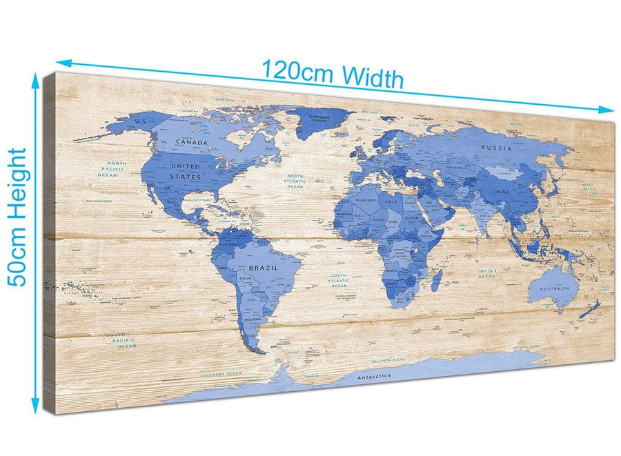 Panoramic Large Blue Cream Map Of World Atlas Canvas Modern 120cm Wide 1308 For Your Dining Room