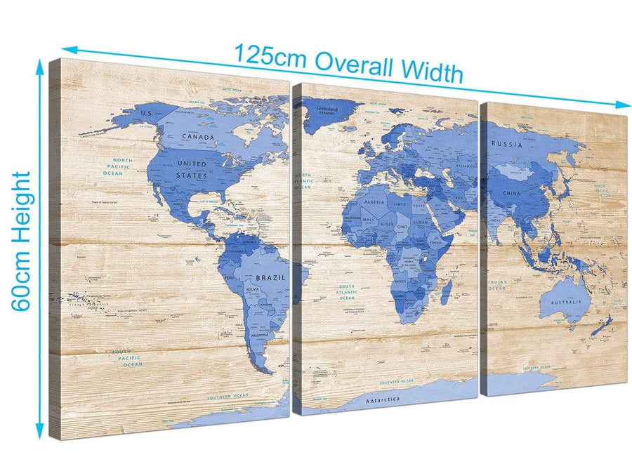 Panoramic Large Blue Cream Map Of World Atlas Canvas Multi 3 Piece 3308 For Your Dining Room