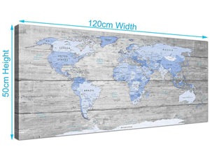 Panoramic Large Blue Grey Map Of World Atlas Maps Canvas Modern 120cm Wide 1303 For Your Office