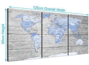 Panoramic Large Blue Grey Map Of World Atlas Maps Canvas Multi 3 Set 3303 For Your Living Room