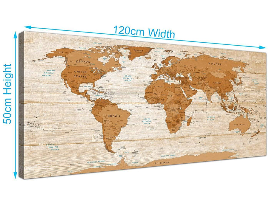 Panoramic Large Brown Cream Map Of World Atlas Canvas Modern 120cm Wide 1307 For Your Dining Room