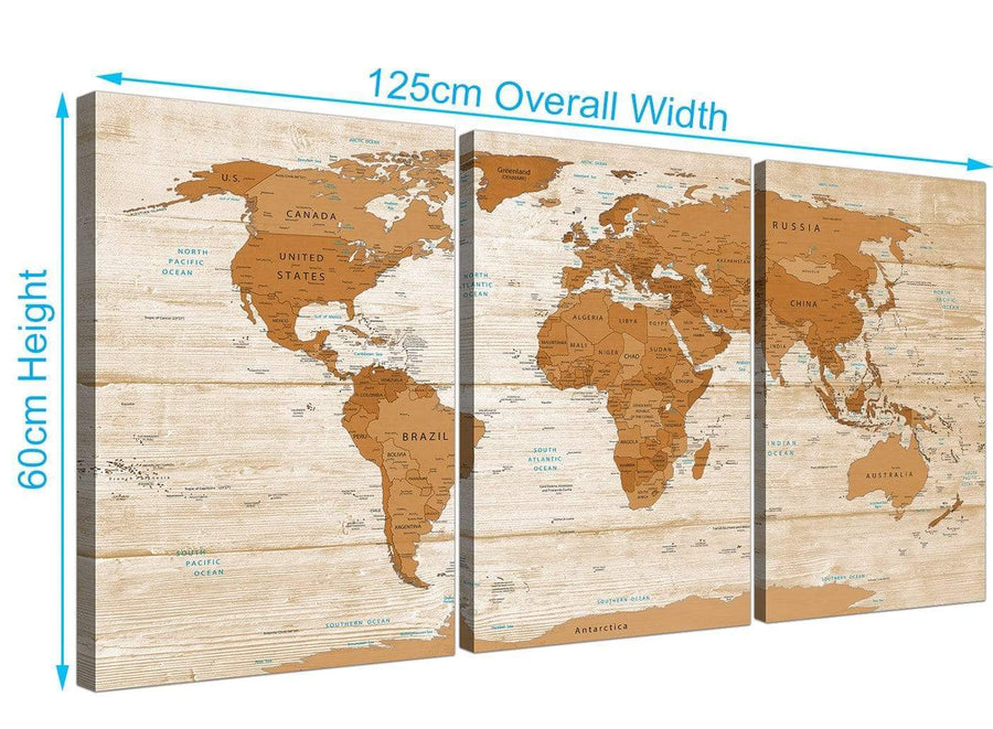 Panoramic Large Brown Cream Map Of World Atlas Canvas Multi 3 Set 3307 For Your Living Room