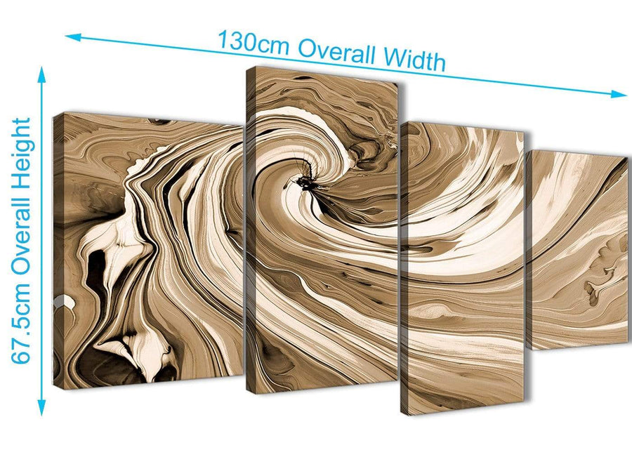 Panoramic Large Brown Cream Swirls Modern Abstract Canvas Wall Art Split 4 Panel 130cm Wide 4349 For Your Living Room