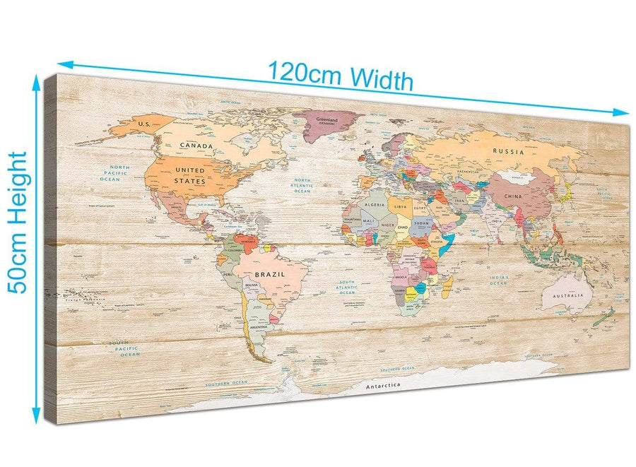 Panoramic Large Cream Map Of The World Atlas Picture Canvas Modern 120cm Wide 1314 For Your Living Room