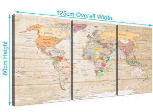 Panoramic Large Cream Map Of The World Atlas Picture Canvas Split 3 Panel 3314 For Your Office