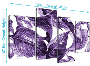 Panoramic Large Dark Purple White Tropical Exotic Leaves Canvas Split 4 Piece 4322 For Your Dining Room