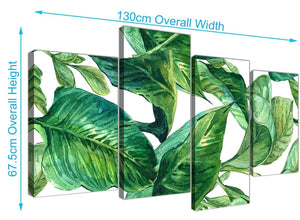 Panoramic Large Green Palm Tropical Banana Leaves Canvas Split 4 Part 4324 For Your Living Room