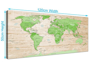 Panoramic Large Lime Green Cream World Map Atlas Canvas Modern 120cm Wide 1310 For Your Living Room