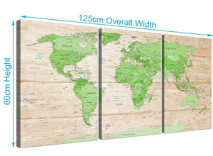 Panoramic Large Lime Green Cream World Map Atlas Canvas Split Set Of 3 3310 For Your Office