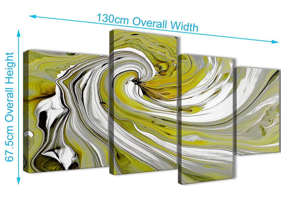Panoramic Large Lime Green Swirls Modern Abstract Canvas Wall Art Multi 4 Panel 130cm Wide 4351 For Your Kitchen