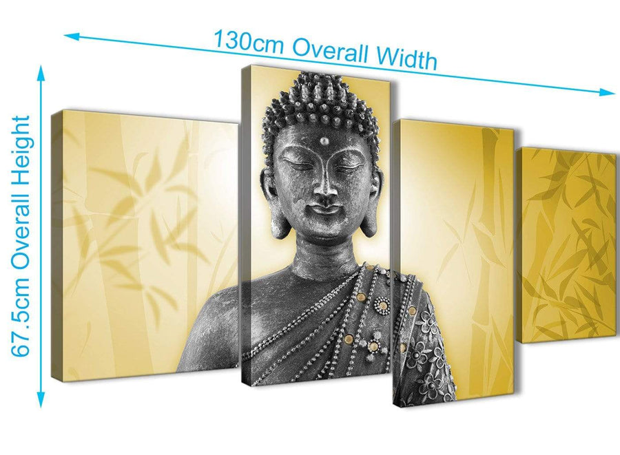 Panoramic Large Mustard Yellow And Grey Silver Wall Art Print Of Buddha Canvas Multi 4 Panel 4328 For Your Office