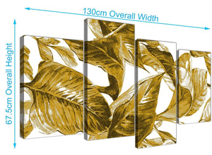 Panoramic Large Mustard Yellow White Tropical Leaves Canvas Split 4 Set 4318 For Your Bedroom