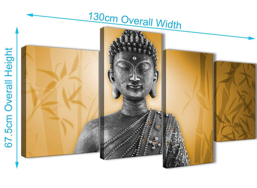 Panoramic Large Orange And Grey Silver Wall Art Prints Of Buddha Canvas Split 4 Piece 4329 For Your Living Room
