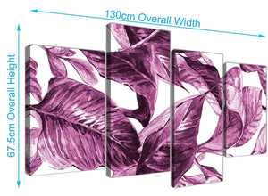 Panoramic Large Plum Aubergine White Tropical Leaves Canvas Multi 4 Set 4319 For Your Bedroom