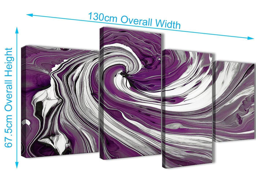 Panoramic Large Plum Purple White Swirls Modern Abstract Canvas Wall Art Split 4 Panel 130cm Wide 4353 For Your Living Room