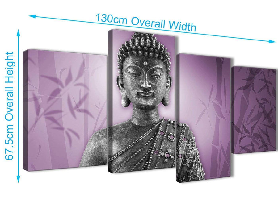 Panoramic Large Purple And Grey Silver Wall Art Prints Of Buddha Canvas Multi 4 Part 4330 For Your Dining Room
