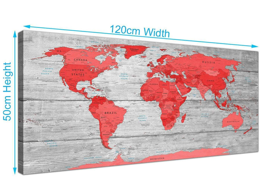 Panoramic Large Red Grey Map Of The World Atlas Canvas Wall Art Print Modern 120cm Wide 1300 For Your Office