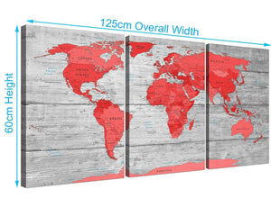 Panoramic Large Red Grey Map Of The World Atlas Canvas Wall Art Print Multi 3 Set 3300 For Your Office