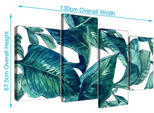 Panoramic Large Teal Blue Green Tropical Exotic Leaves Canvas Multi 4 Piece 4325 For Your Living Room