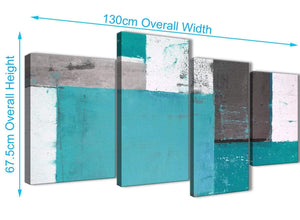Panoramic Large Teal Grey Abstract Painting Canvas Wall Art Split 4 Panel 130cm Wide 4344 For Your Living Room