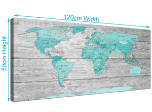 Panoramic Large Teal Grey Map Of World Atlas Maps Canvas Modern 120cm Wide 1299 For Your Office