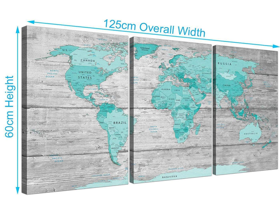 Panoramic Large Teal Grey Map Of World Atlas Maps Canvas Split 3 Part 3299 For Your Study