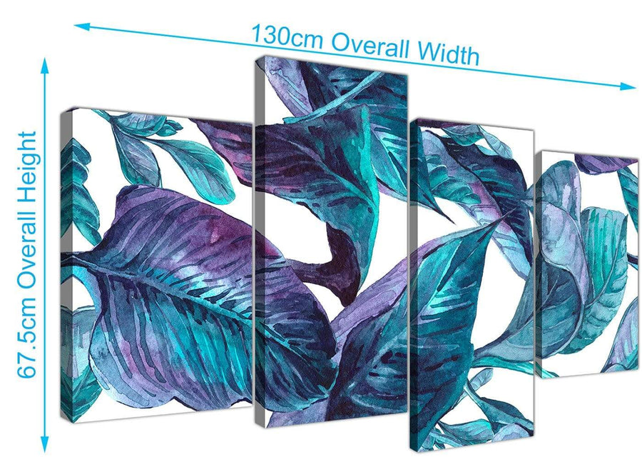 Panoramic Large Turquoise And White Tropical Leaves Canvas Split 4 Set 4323 For Your Dining Room