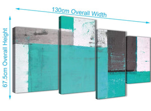 Panoramic Large Turquoise Grey Abstract Painting Canvas Wall Art Multi 4 Part 130cm Wide 4345 For Your Bedroom