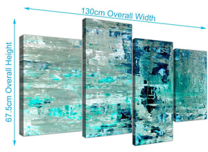 Panoramic Large Turquoise Teal Abstract Painting Wall Art Print Canvas Split 4 Set 4333 For Your Hallway