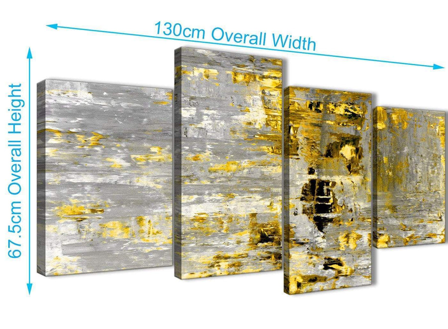 Panoramic Large Yellow Abstract Painting Wall Art Print Canvas Split 4 Piece 130cm Wide 4357 For Your Kitchen
