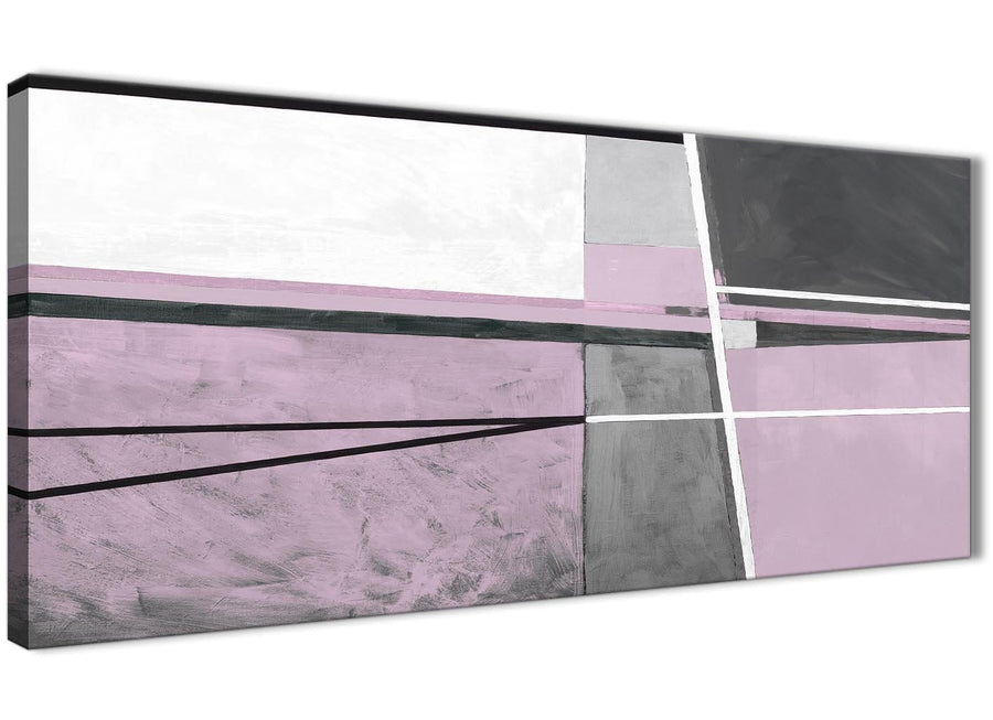 Panoramic Lilac Grey Painting Living Room Canvas Wall Art Accessories - Abstract 1395 - 120cm Print